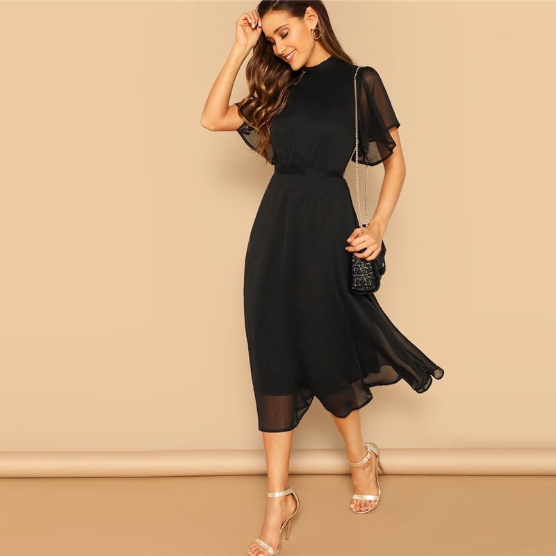 Women's Black Butterfly Sleeved Party Dress