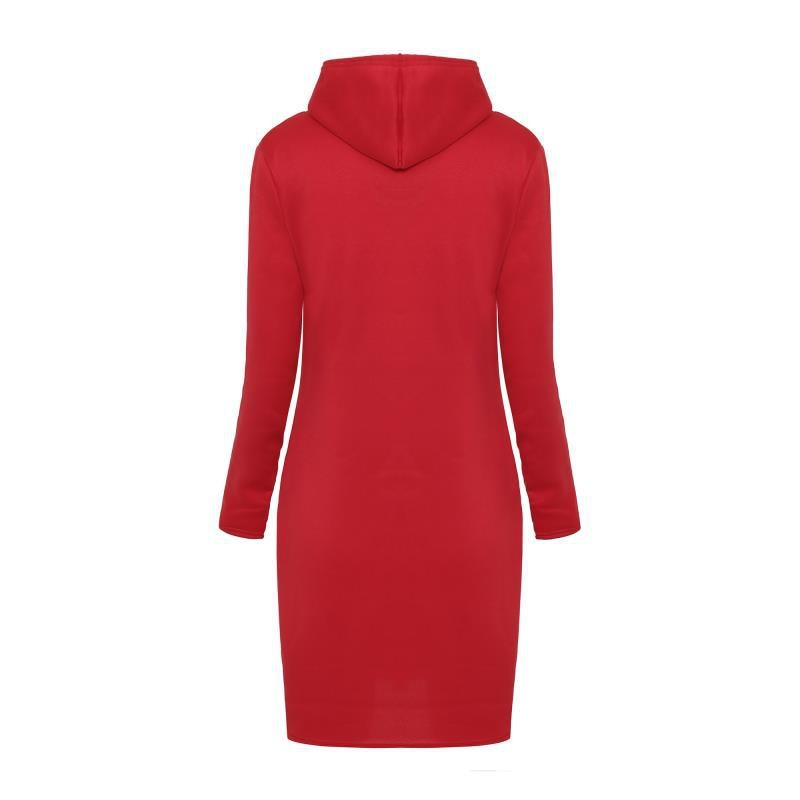 Women's Solid Color Hooded Knee-Length Dress